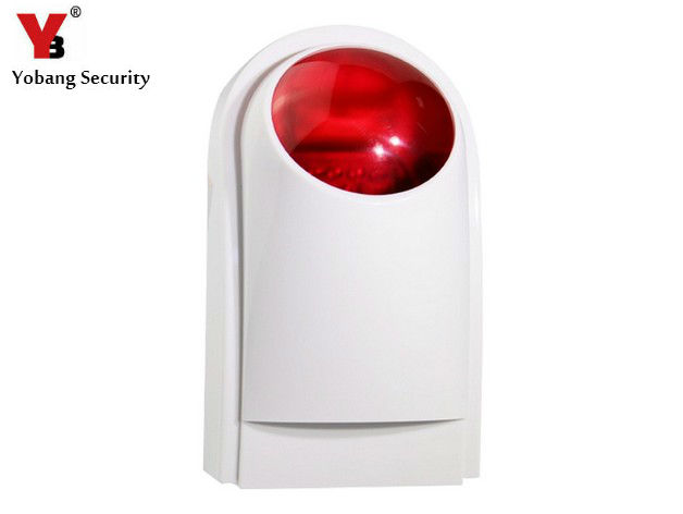 YobangSecurity G90B Wireless Outdoor Siren Flashing Red Light Strobe Siren for Home Security Alarm System 110dB yobangsecurity wireless indoor siren flashing red light strobe siren for yb103 yb104 home security alarm system 110db