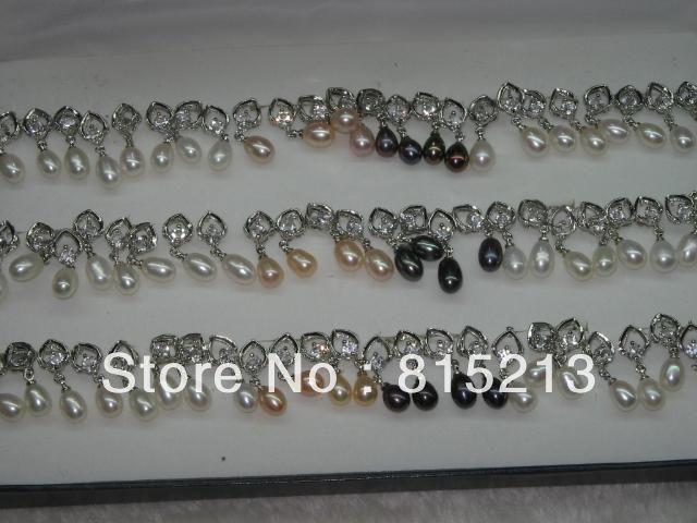wb00320 Fashionable 30pairs freshwater pearl&zircon earrings
