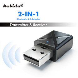 kebidu 2 in 1 Wireless Bluetooth 5.0 Transmitter Receiver Mini 3.5mm AUX Stereo For Car Music Bluetooth Transmitter For TV