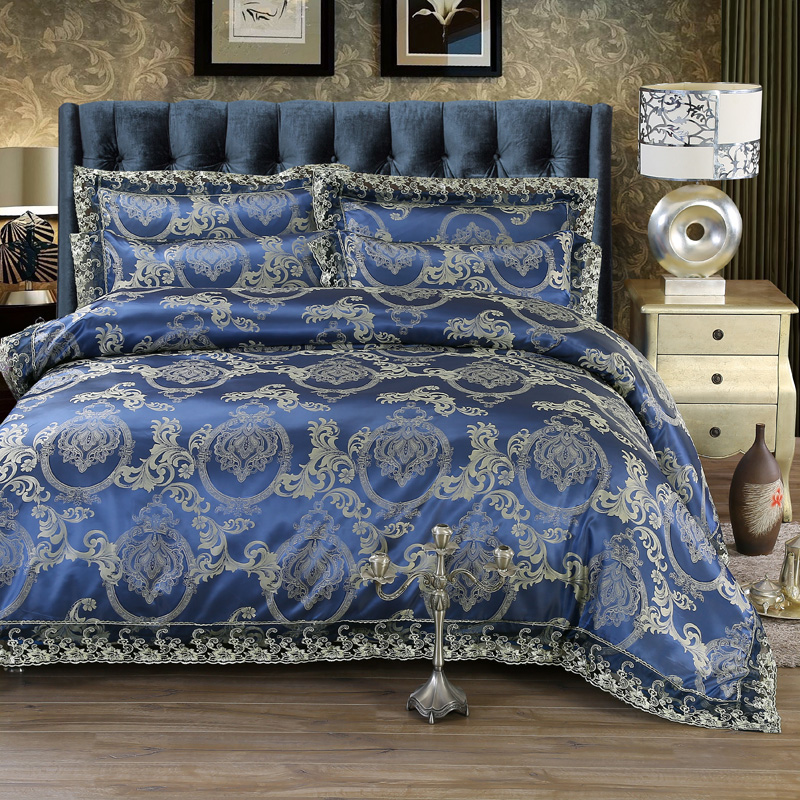 European Style Luxury Satin Jacquard Lace edge Silk/cotton Bedding Set Royal blue Duvet Cover Bed Linen Bed sheet PillowcasesEuropean Style Luxury Satin Jacquard Lace edge Silk/cotton Bedding Set Royal blue Duvet Cover Bed Linen Bed sheet Pillowcases