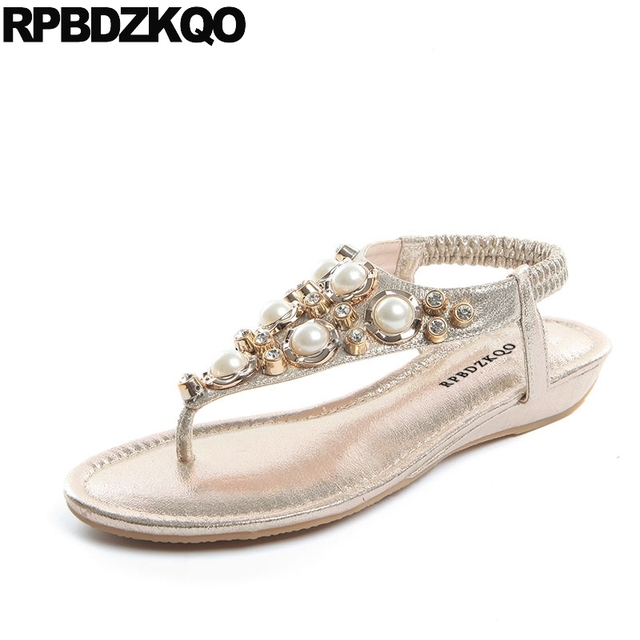 431ceaa91a7684 Soft Gold Thong Rhinestone Flat Women Crystal Holiday Pearl Silver T Strap  Diamond Shoes Sandals Leisure Fashion Bohemia Style