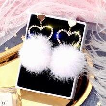 FYUAN-pendientes colgantes con diamantes de imitación para mujer y niña, joyería de moda, bolas de pelo blanco suave, aretes de gota, regalo