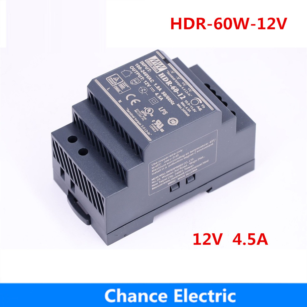 12V 4.5A 60W MEAN WELL Switching Power Supply HDR 60 12 meanwell HDR 60 Single Output Industrial DIN Rail Power Supply