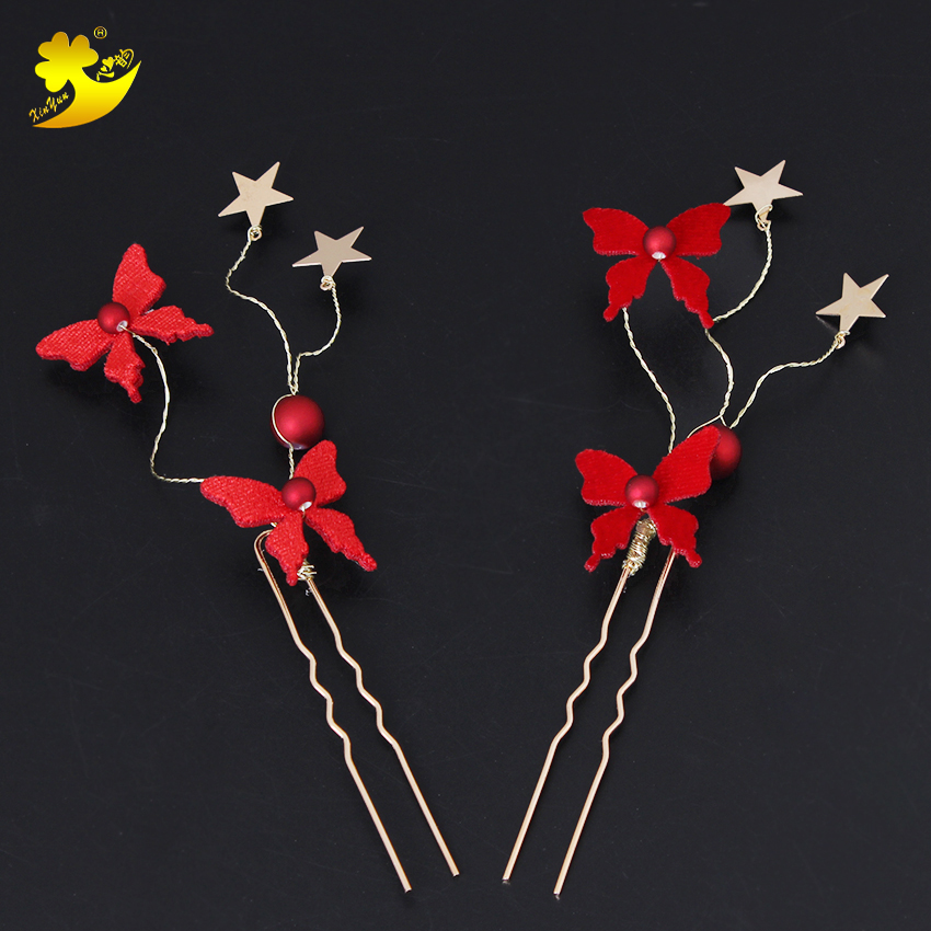 Xinyun Handmade Wedding Hair Pins Red Butterfly Bridal Accessories Gold Leaf Crystal Hairpin Clips Comb Bridal Headpiece Jewelry