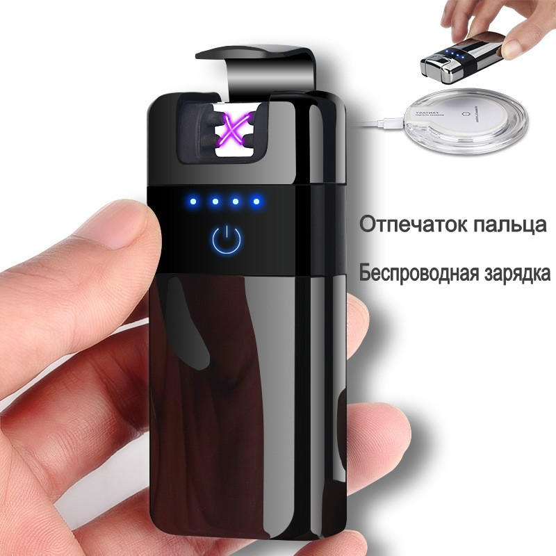 Creative Wireless Charging Double Arc Lighter Fingerprint Touch Electic USB Lightes Metal Rechargeable Arc Plasma Lighter sigara|Cigarette Accessories| |  - title=