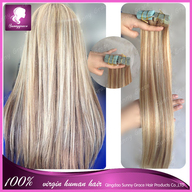 Mixed Color Tape Hair 16 18 20 22 24 2628tape Skin Human Hair