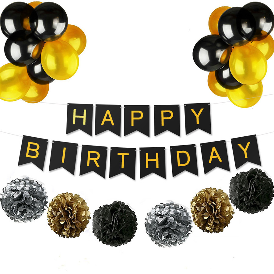 Us 4 93 46 Off Happy Birthday Decoration Set Black Gold Kids Boy Baby Shower Home Decor Party Favour Supplies Latex Balloons Paper Pom Pom In