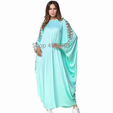 Musulman Abayas Pour Femmes Vert Clair Conduites De Carburant Kaftan  Turquie Turc Dubaï Malaisie Islamique Vêtements Bat Wing Ma.