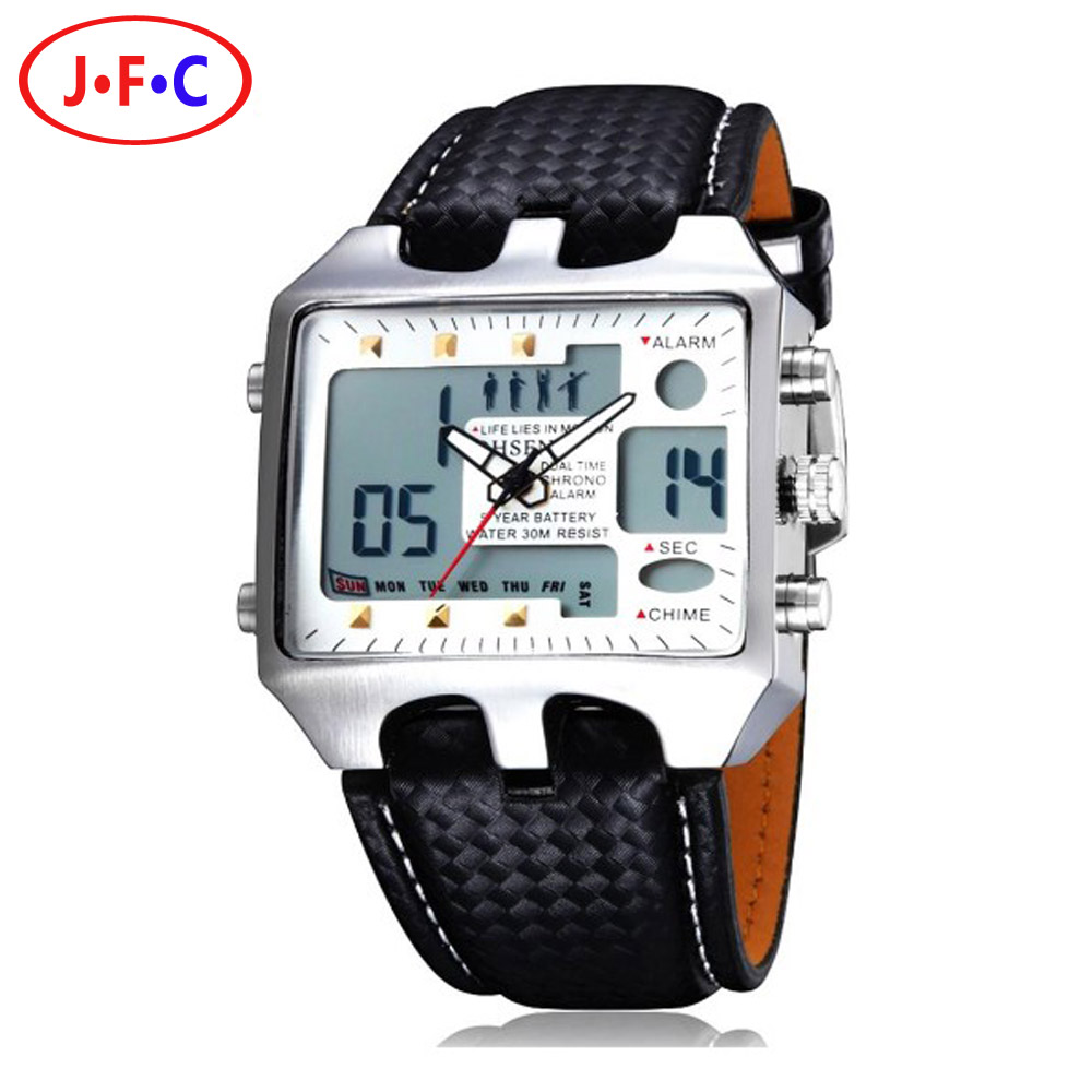 Genuine Leather Wristwatches Gift 2016 Hot Sale Men Fashion Casual Watch OHSEN AD0930 Men s Sports