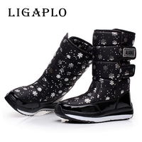 2016 New Winter High Women Boots Plush Warm Lady Shoe Plus Size 36 To 40 Easy