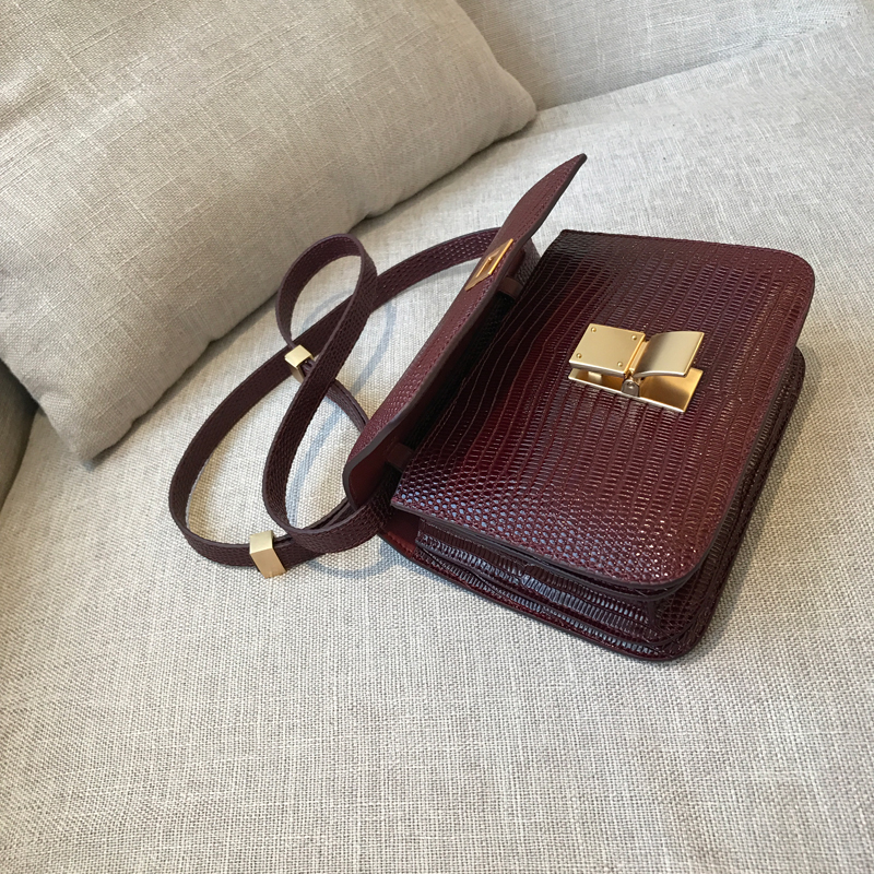2018 new customized high quality female bag lizard skin dermatoglyph leather bag exquisite single bag single shoulder woman bag in Shoulder Bags from Luggage Bags