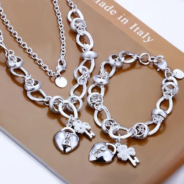عالية الجودة 925 ختمها الفضة مطلي مجموعة مجوهرات ، نيكل الحرة انتيالرغيتش مطعمة القلب قفل وزهرة مفتاح مجموعة مجوهرات