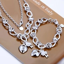 High quality 925 stamped silver plated jewelry set, Nickle free antiallergic Inlaid Heart Lock And Flower Key charms Jewelry Set
