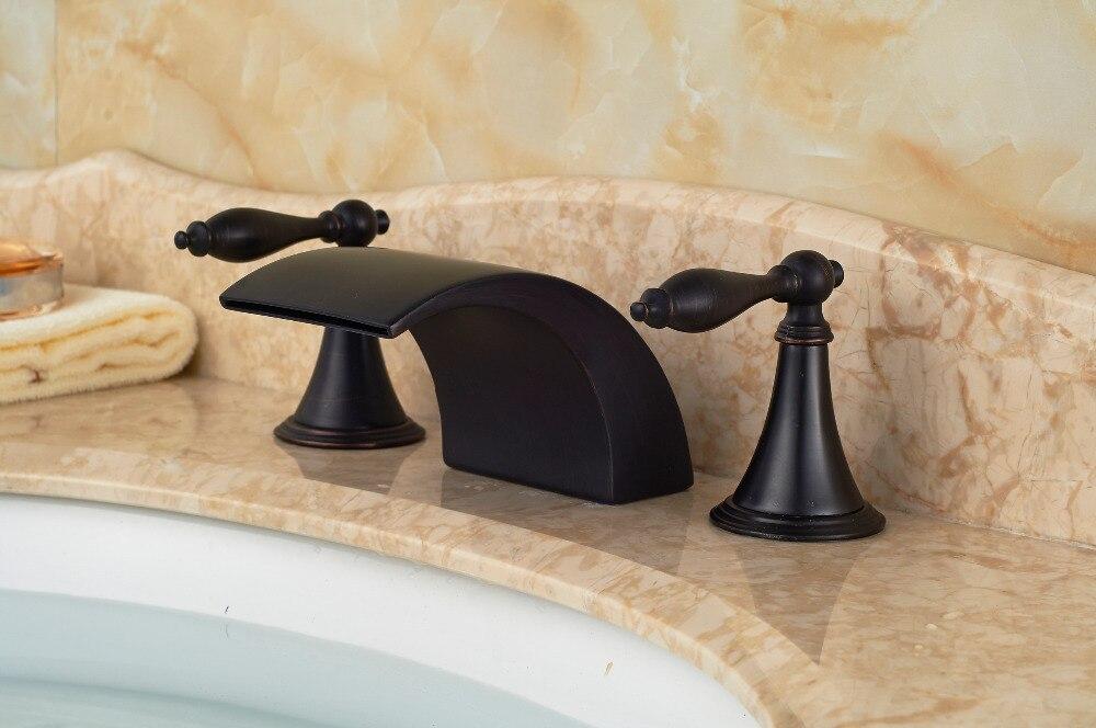 Luxury 3PCS Oil Rubbed Bronze Deck Mounted Bathroom Basin Sink Faucet Mixer tap