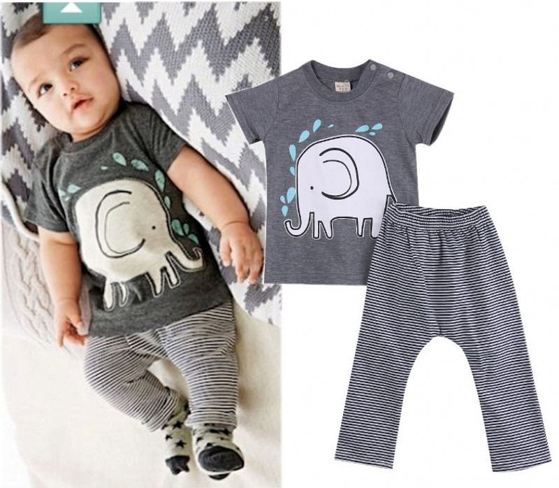 Newborn Baby Boys Bodysuit Pants Set Elephant Clothes Outfits Fits 3