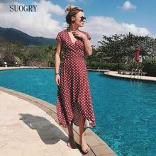 SUOGRY  V Neck Print Sexy Dress Women Short Sleevele Summer 2018 Beach Elegant Mini Vestido