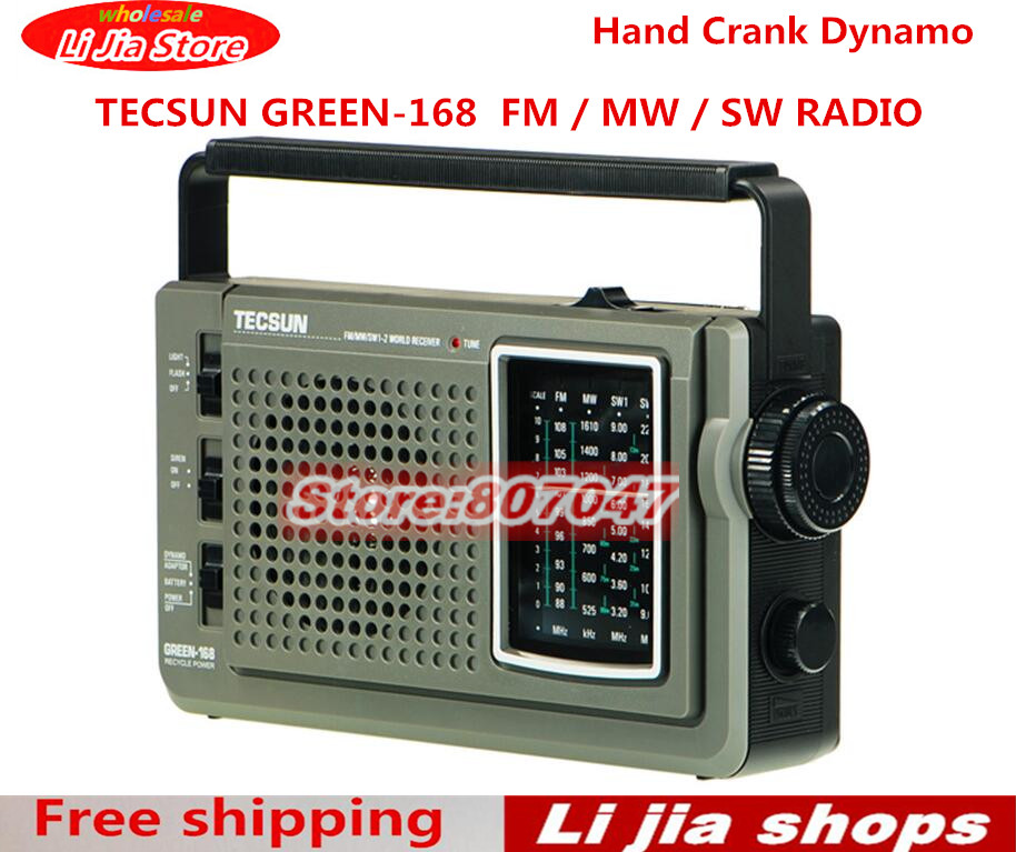 free shipping TECSUN GREEN-168 Radio FM / MW / SW Hand Crank Dynamo Emergency Multiband Radio Receiver Vintage Radio tivdio v 116 fm mw sw dsp shortwave transistor radio receiver multiband mp3 player sleep timer alarm clock f9206a