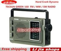 free shipping TECSUN GREEN 168 Radio FM / MW / SW Hand Crank Dynamo Emergency Multiband Radio Receiver Vintage Radio