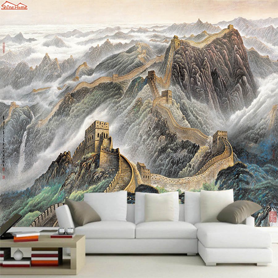 ShineHome-Chinese Great Wall Oil Painting Style Room 3 d Wallpaper Roll for Wall 3d Wall Paper Livingroom Non-woven Mural Rolls shinehome city building wallpaper black and white 3d murals for walls 3 d wallpapers for livingroom kids 3 d mural roll room