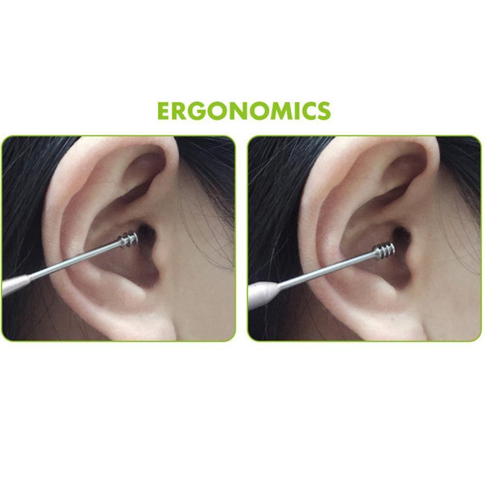 5pcs/set Ear wax pickers stainless steel Spiral ear picks wax removal curette remover Ear Clean Tool kit Earpick Ear Care 4
