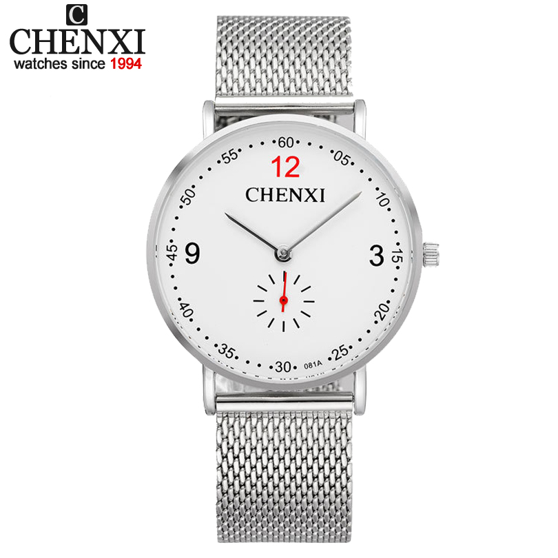 CHENXI Brand Male Top Luxury Watches Men Silver Stainless Steel Mesh Strap Quartz-wrist watch Ultra Thin Dial Clock Man Relogio