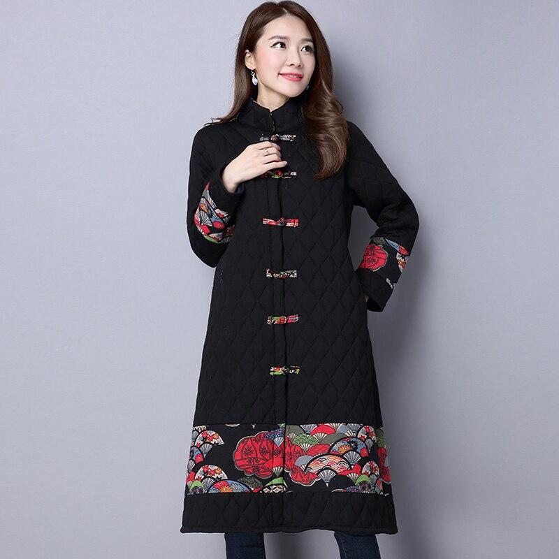 2019 Autumn Winter Vintage Jacket Long   Parka   Thick Cotton Padded Lining Printing Coat Ladies Women Plus Size   Parkas
