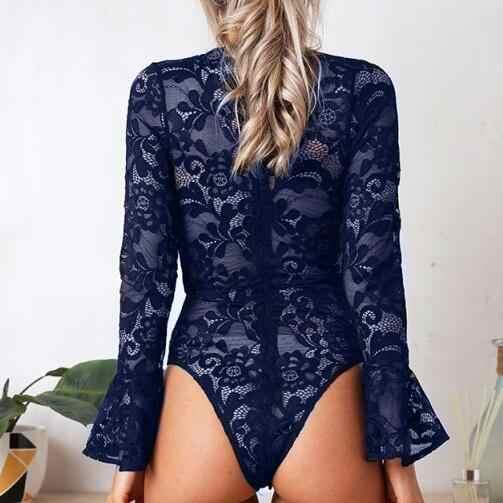 Clobee 2019 Весна черного кружева с длинным рукавом Для женщин Bodycon сексуальные комбинезоны боди вечерние Feminino Mujer DJ192