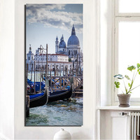 Funlife Mediterranean Style Venetian Scenery Wall Poster DIY Frameless Wall Paper Living Room Bedroom Canvas Wall
