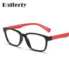 eb33423e6 Ralferty TR90 Quadrados Óculos de Armação Flexível Crianças Óculos de Sol  Com Cordão Para Meninos da Criança Meninas Grau de Mio.