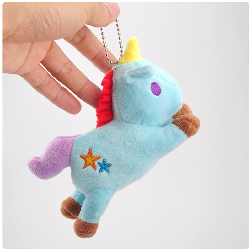 Hot Sale Rainbow Unicorn  Plush Toys Cute Anime Cartoon Unicorn Horse Animal Dolls Small Key Bag Pendants Keychain  (3)