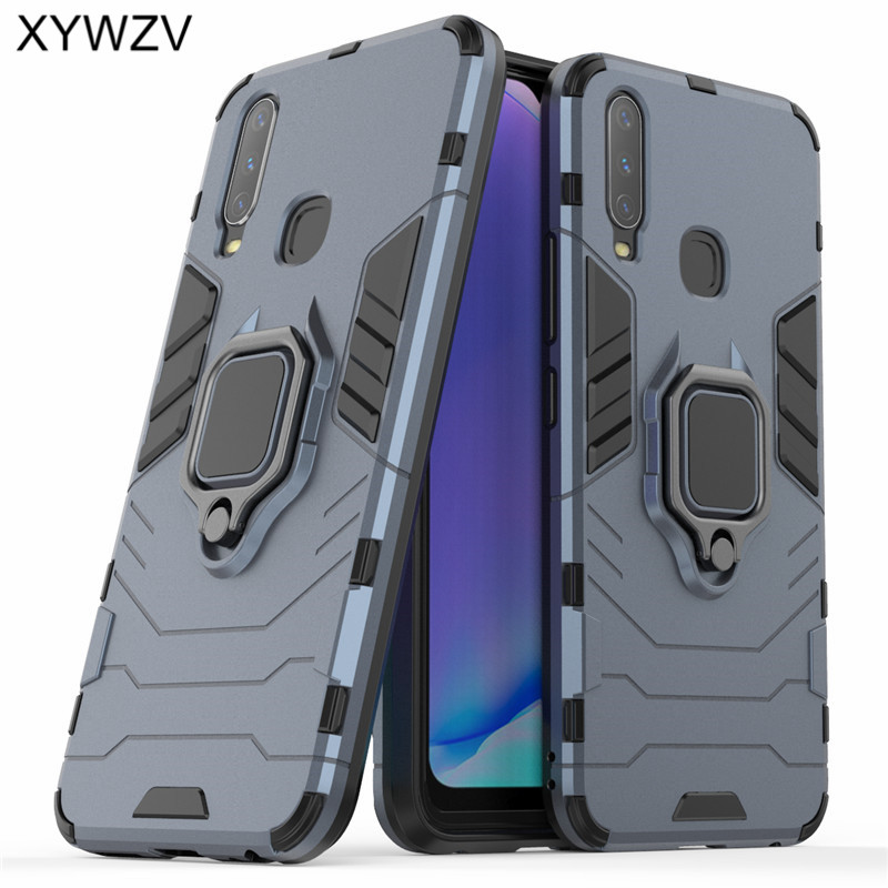 Image 2 - Vivo Y17 Case Shockproof Cover Armor Metal Finger Ring Holder Soft Silicone Hard PC Phone Case For Vivo Y17 Back Cover Vivo Y17-in Fitted Cases from Cellphones & Telecommunications