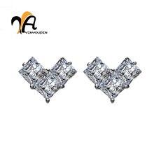 Фотография YA YIN YOU PIN S925 Pure Earrings More Than The Shiny Zirconia Heart-Shaped Light Luxury Professional 925 Sterling Silver Shop