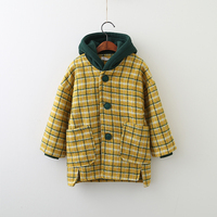 Children Girls England Style Outerwear Clothing Spring Autumn Baby Kids Plaid Print Pockets Jacket Fashion Hooded