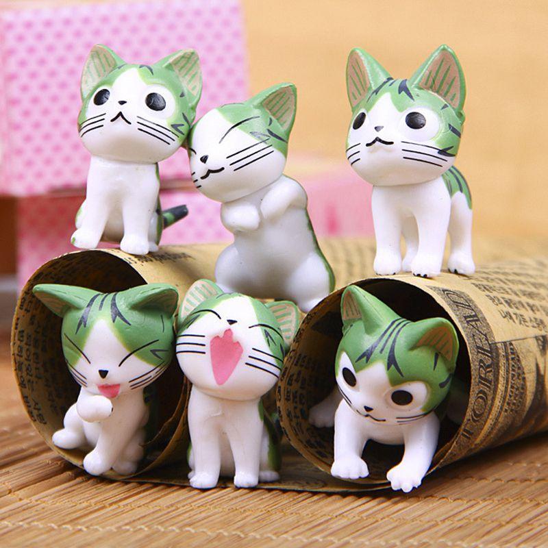 6pcs/set Micro world Bonsai Home Decor Mini Moss Cat Decoration Ornament Garden Table Small Ornament Kids Favor Decor Gift