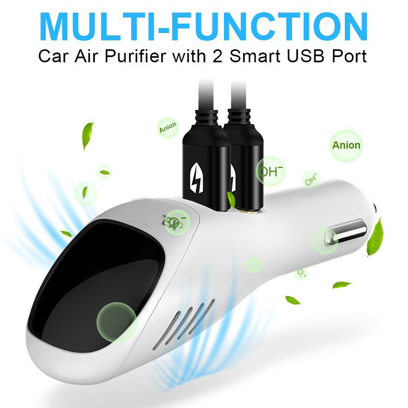 Car Air Purifier and Car Charger 2 in 1 Ionic Air Cleaner Ionizer with 2 USB Port Smart Car Charger Ionizer Cleaner Portable USB