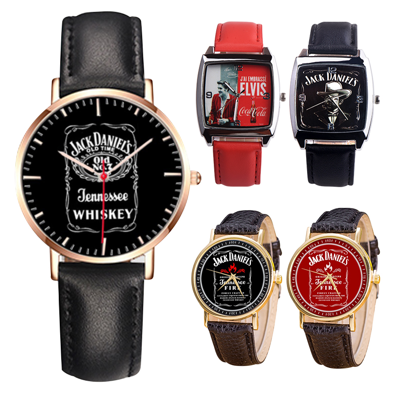 Brand Bew 5 Models 1pc Limit Classic JACK DANIELS whiskyleisure quartz simulated Leather watch sports watches for Men and Women