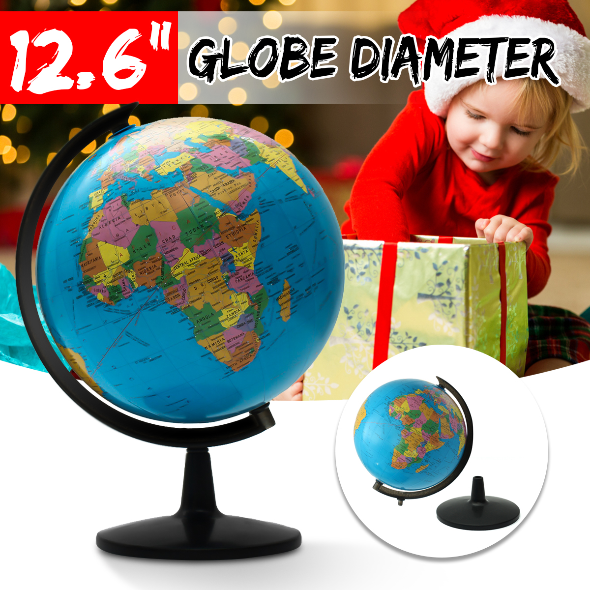 World Globe Map Ornaments With Swivel Stand Home Office Office Shop Desk Decor World Map Geography Educational Tool 32cm new led world map world globe rotating swivel map of earth geography globe figurines ornaments birthday gift home office decor