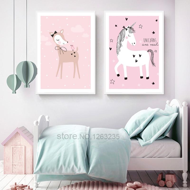 Rosa Hirsch Bild Mädchen Room Decor Pferd Bilder Poster Wandkunst Leinwand  Malerei Poster Nordic Stil Kinder