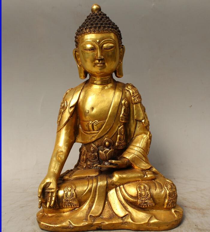 12 Tibet Buddhism Bronze Gild Sakyamuni Shakyamuni Amitabha Buddha lotus Statue12 Tibet Buddhism Bronze Gild Sakyamuni Shakyamuni Amitabha Buddha lotus Statue