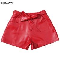 2018 Winter Anti Season Big Sale High Waist Black Red Bow Wide Leg Slim Genuine Leather Women Shorts Sexy Korean Style women