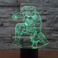 3D Iron Man Lamp Mavel 3D lamp LED Night Light Kids Sleeping Night Light Plastic Stand Base USB Charge Colorful Lampe
