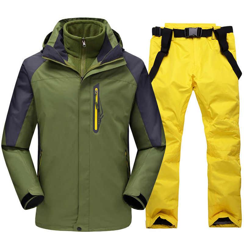 Лыжный костюм для мужчин, Зимний Супер Теплый уплотненный водонепроницаемый ветрозащитный зимний костюм, мужской лыжный сноуборд куртка и штаны 2 в 1 комплект одежды