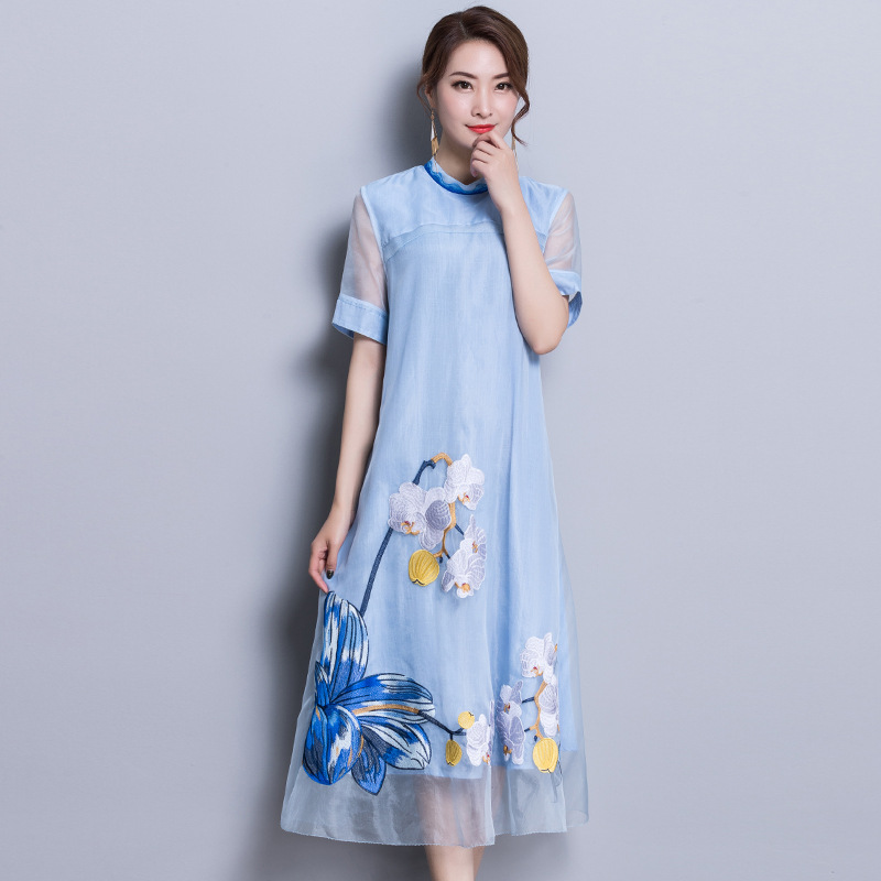 2018 National Style Beauty Floral Embroidery Womens Dresses Elegnat Spring Summer Sheer Sleeve Silk Dress Brand High Quality