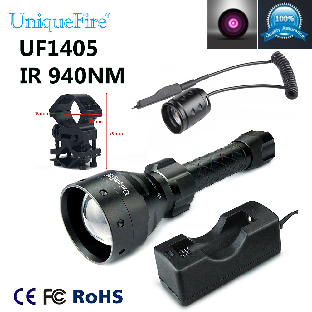 Hot Sale 2017 Uniquefire 1405 IR 940NM Zoomable 67mm Lens LED Flashlight +Charger+Scope Mount+Rat Tail Set For Night Hunting hot sale uniquefire t20 ir 850nm mini led flashlight fit for ir device 38mm lens torch lantern charger