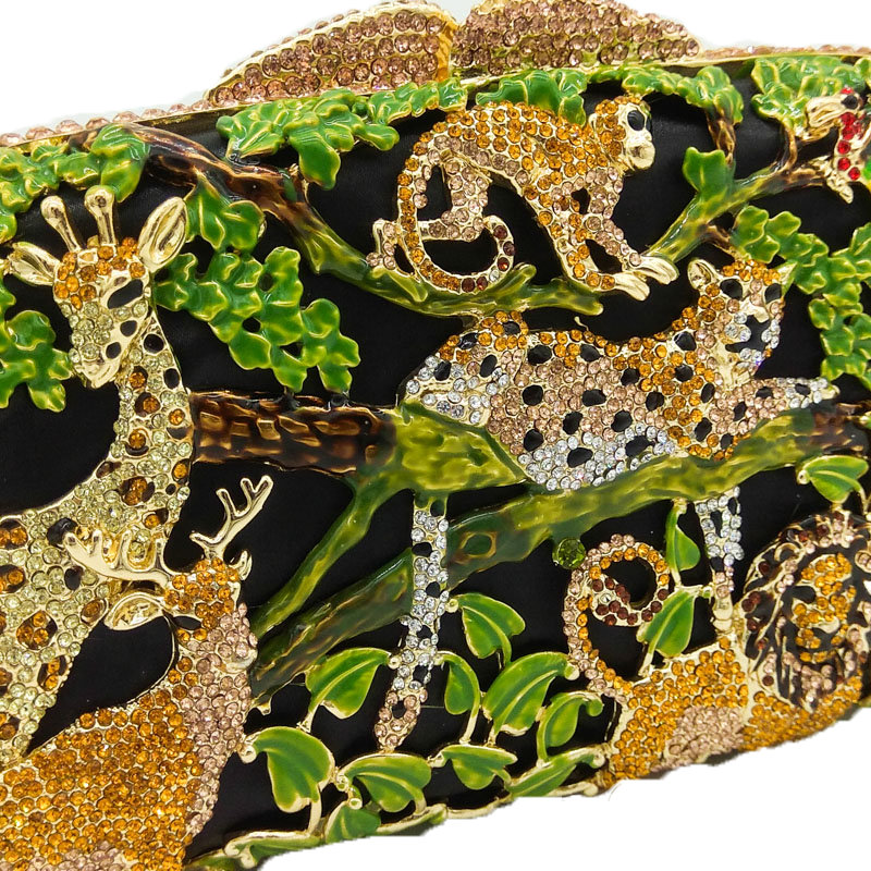 Boutique De FGG Regen Wald Jungle Frauen Kristall Tier Zoo Abend Taschen Damen Diamant Party Handtasche Braut Hochzeit Kupplung Tasche-in Taschen mit Griff oben aus Gepäck & Taschen bei  Gruppe 3