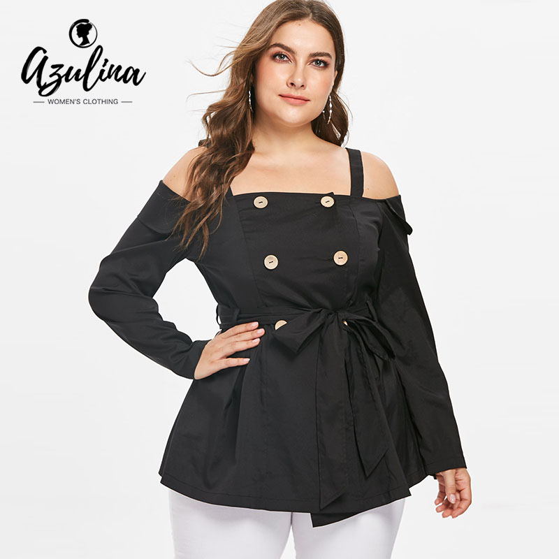 AZULINA Plus Size Cold Shoulder Double Breasted   Blouse   Women Clothing Autumn Black Square Neck Long Sleeve   Blouses     Shirts   Female