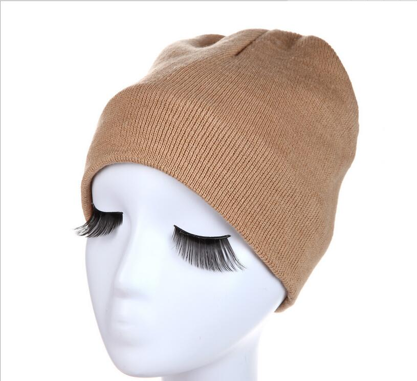Winter cap solid color knitted hat men hat warm soft double layer plus thick velvet bonnet Gorro hats for men and women  цены