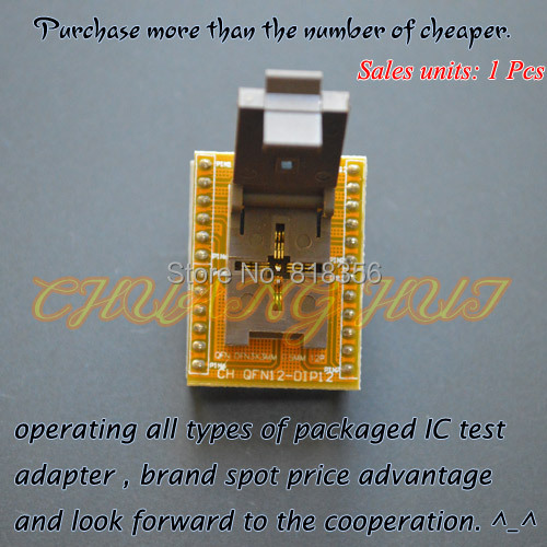 WSON12 to DIP12 Programmer adapter QFN12 DFN12 MLF12 TEST SOCKET Pitch=0.5mm Size=3x3mm
