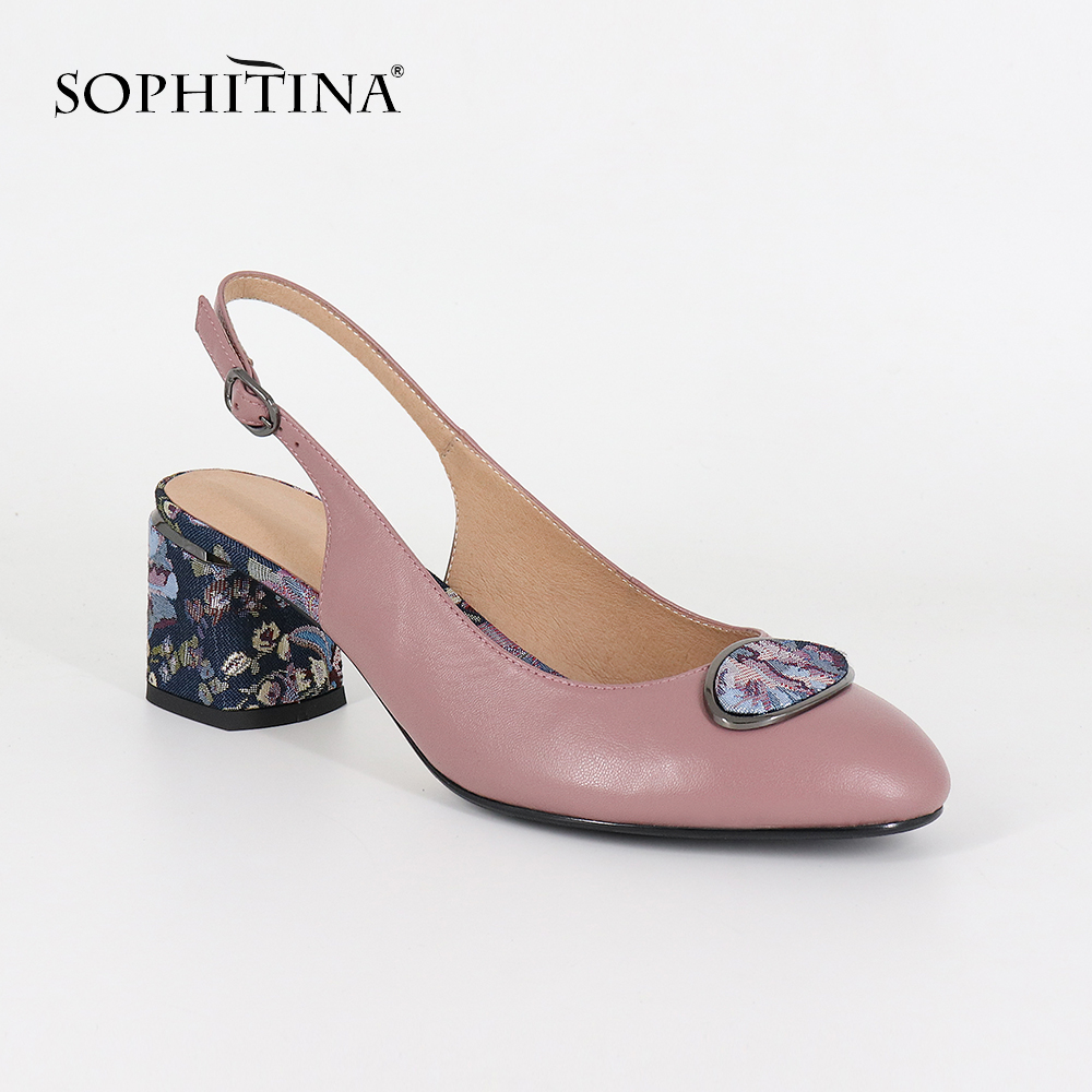 SOPHITINA 2019 Big Size Woman's Sandals Sheepskin Party Buckle Strap Fashion Floral Metal Decoration Shoes Back Strap Pumps SC19-in High Heels from Shoes    2