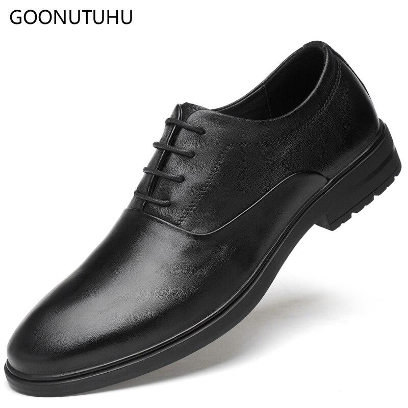 Men's shoes dress genuine leather 2019 new formal shoes male classic black & brown elegant office shoes for men wedding shoe man